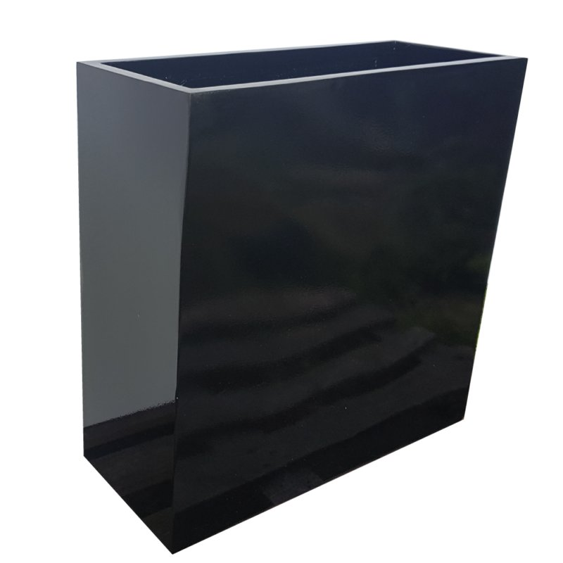 Glossy Black Barrier | Fibreglass Planter