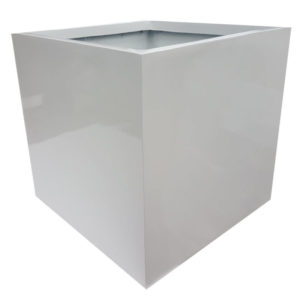 Glossy White Cube | Fibreglass Planter