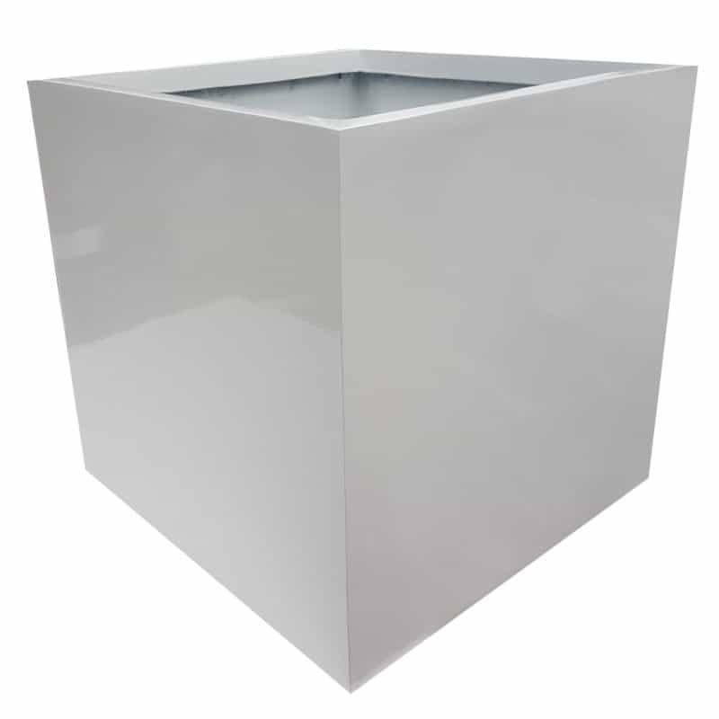 Glossy White Cube   Fibreglass Planter
