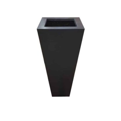 Black Flared Square Polystone Planter Alt
