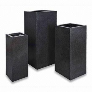Black Poly-Terrazzo Square Tower Planter