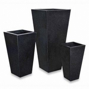 Black Poly-Terrazzo Tall Flared Square Planter