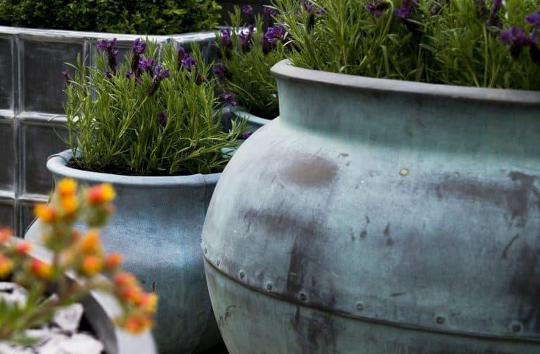 Fibreglass Beaten Copper Bell Jar Planter Alt 3
