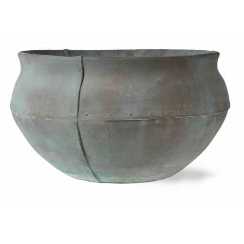 Fibreglass Beaten Copper Bell Jar Planter Alt 4