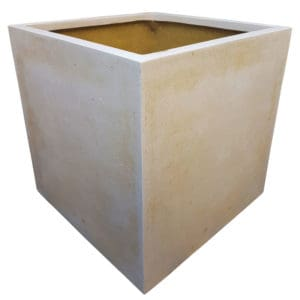 Off-White Cube Polystone Planter