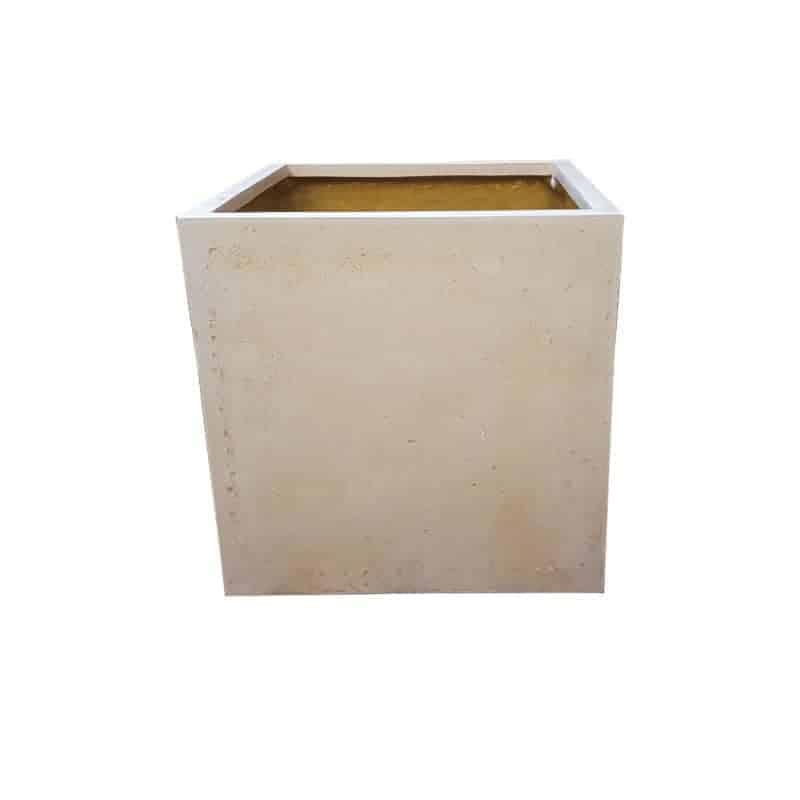 Off-White Cube Polystone Planter Alt