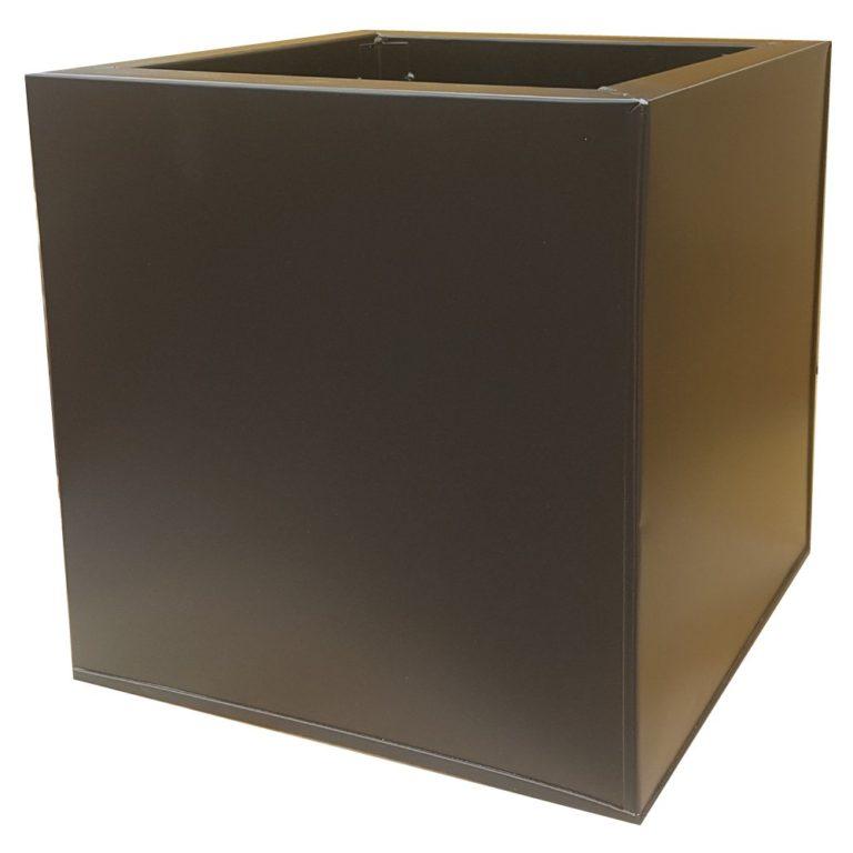 Black Powder Coat Galvanized Cube   Zinc Planter