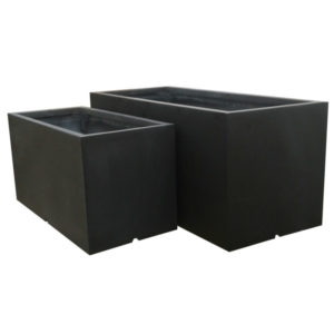 Black Trough Fibrestone Planter