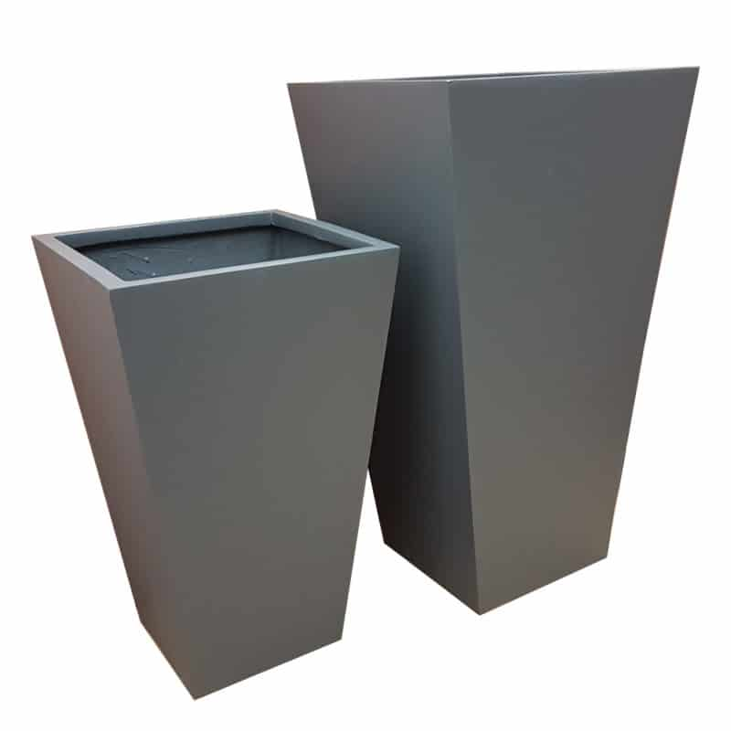 Matte Grey Flared Tower Fibreglass Planter
