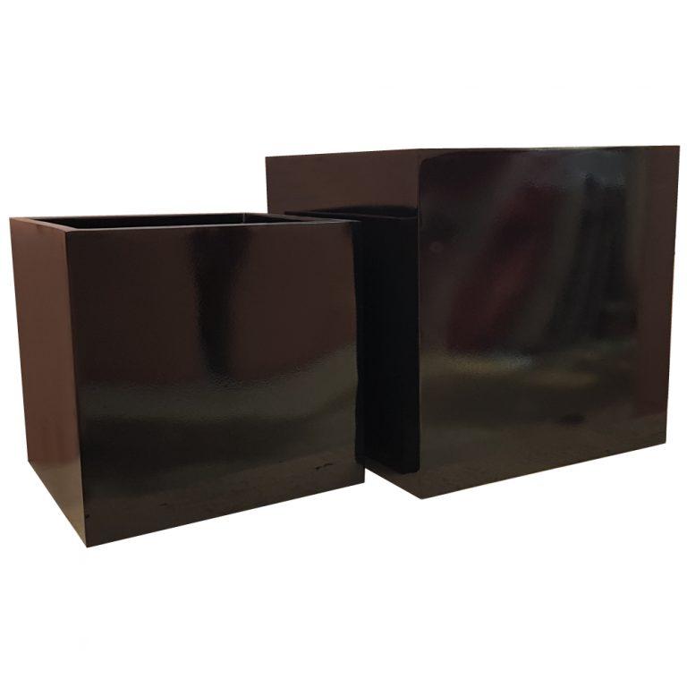 Glossy Black Cube   Fibreglass Planter