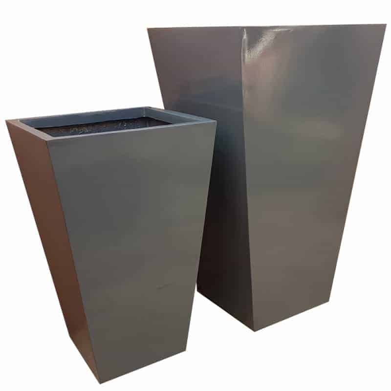 Gloss Grey Flared Tower Fibreglass Planter