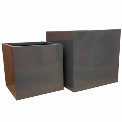 Glossy Grey Cube | Fibreglass Planter