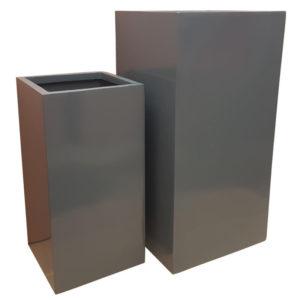 Glossy Grey Tower | Fibreglass Planter