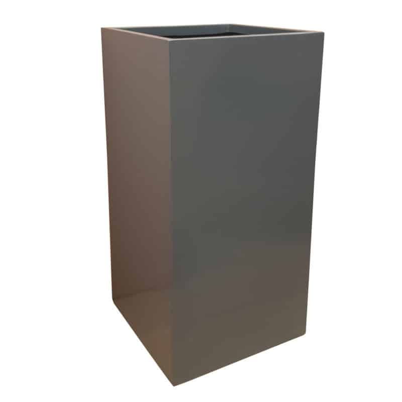 Gloss Grey Tower Fibreglass Planter Alt