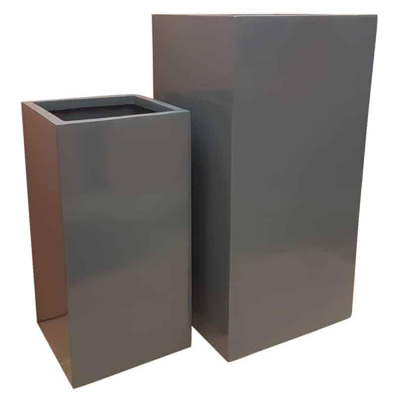 Glossy Grey Tower Fibreglass Planter Flora Select