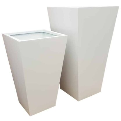 Matte White Flared Tower Fibreglass Planter