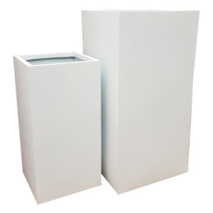 Matte White Tower Fibreglass Planter