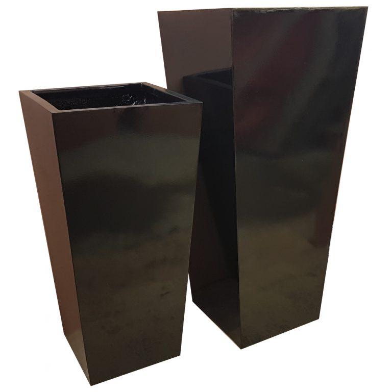 Tall Gloss Black Flared Tower Fibreglass Planter