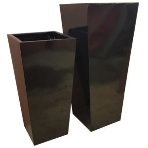 Glossy Black Flared Square | Fibreglass Planter