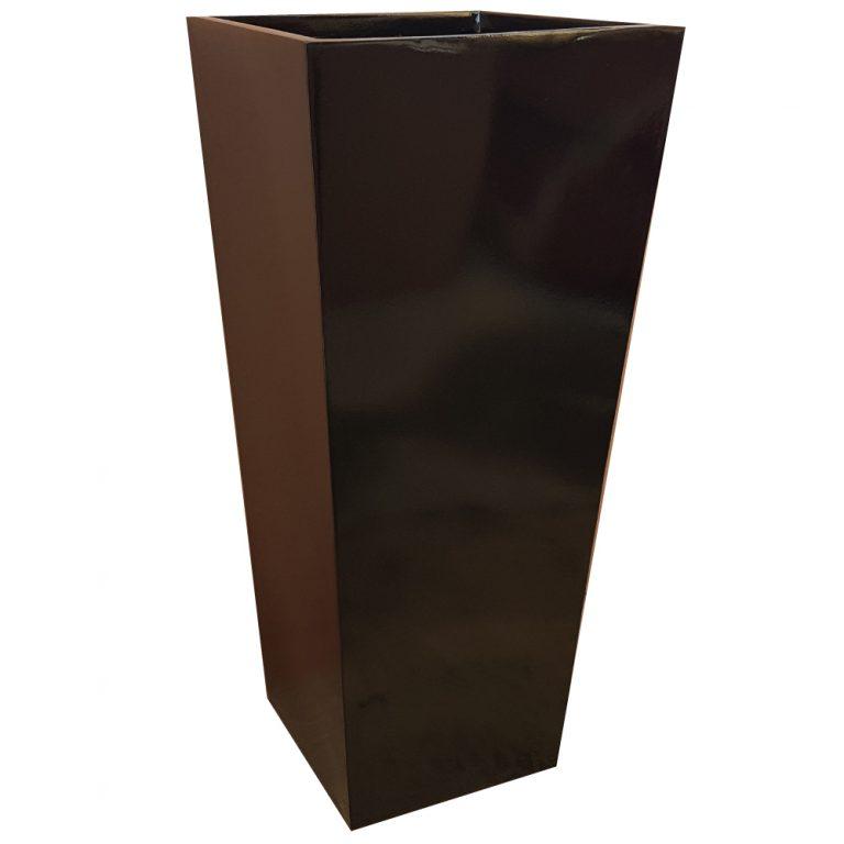 Tall Gloss Black Flared Tower Fibreglass Planter Alt