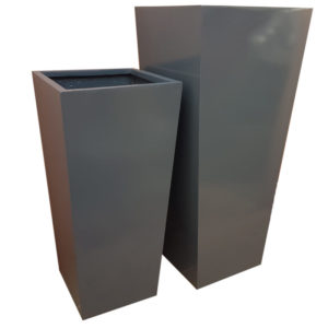 Glossy Grey Flared Square | Fibreglass Planter