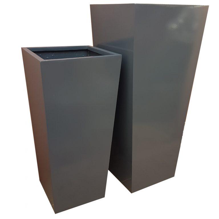 Glossy Grey Flared Square | Fibreglass Planter