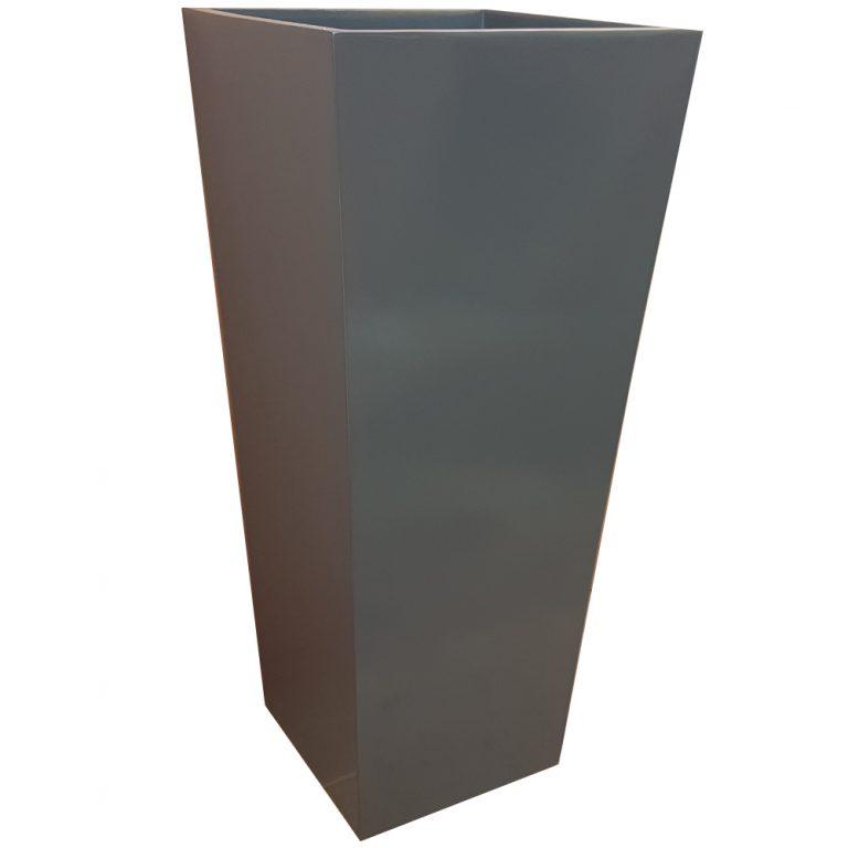 Tall Gloss Grey Flared Tower Fibreglass Planter Alt