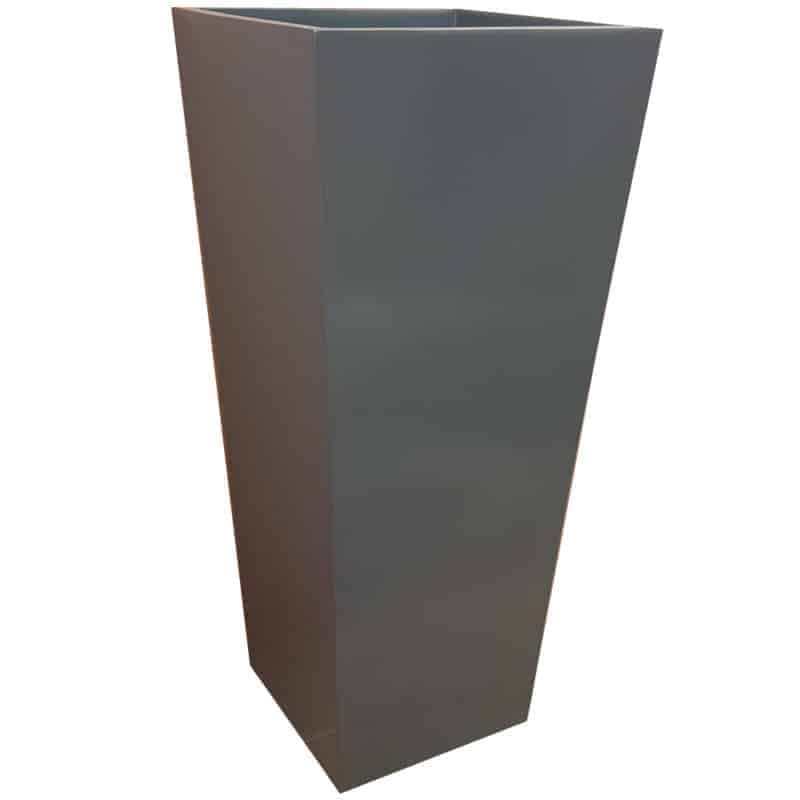 Tall Gloss Grey Flared Tower Fibreglass Planter Alt