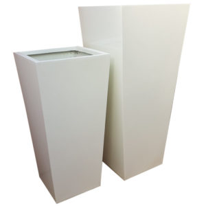Tall Gloss White Flared Tower Fibreglass Planter