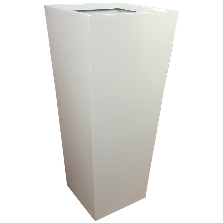 Tall Gloss White Flared Tower Fibreglass Planter Alt
