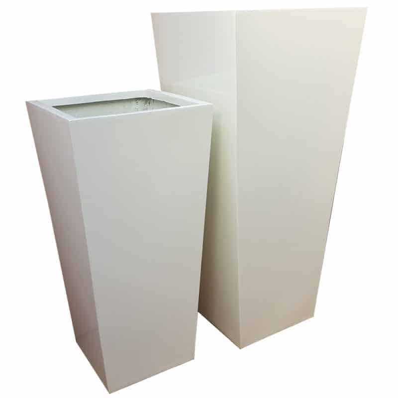 Glossy White Flared Square | Fibreglass Planter