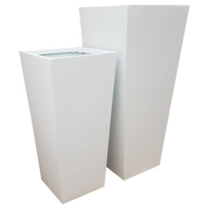 Tall Matte White Flared Tower Fibreglass Planter