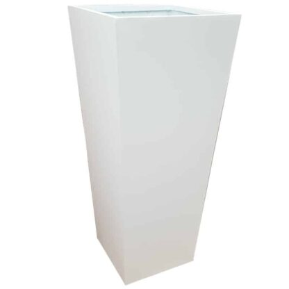 Tall Matte White Flared Tower Fibreglass Planter Alt
