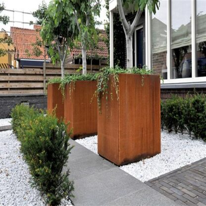 Corten Steel Tower Planters by Adezz