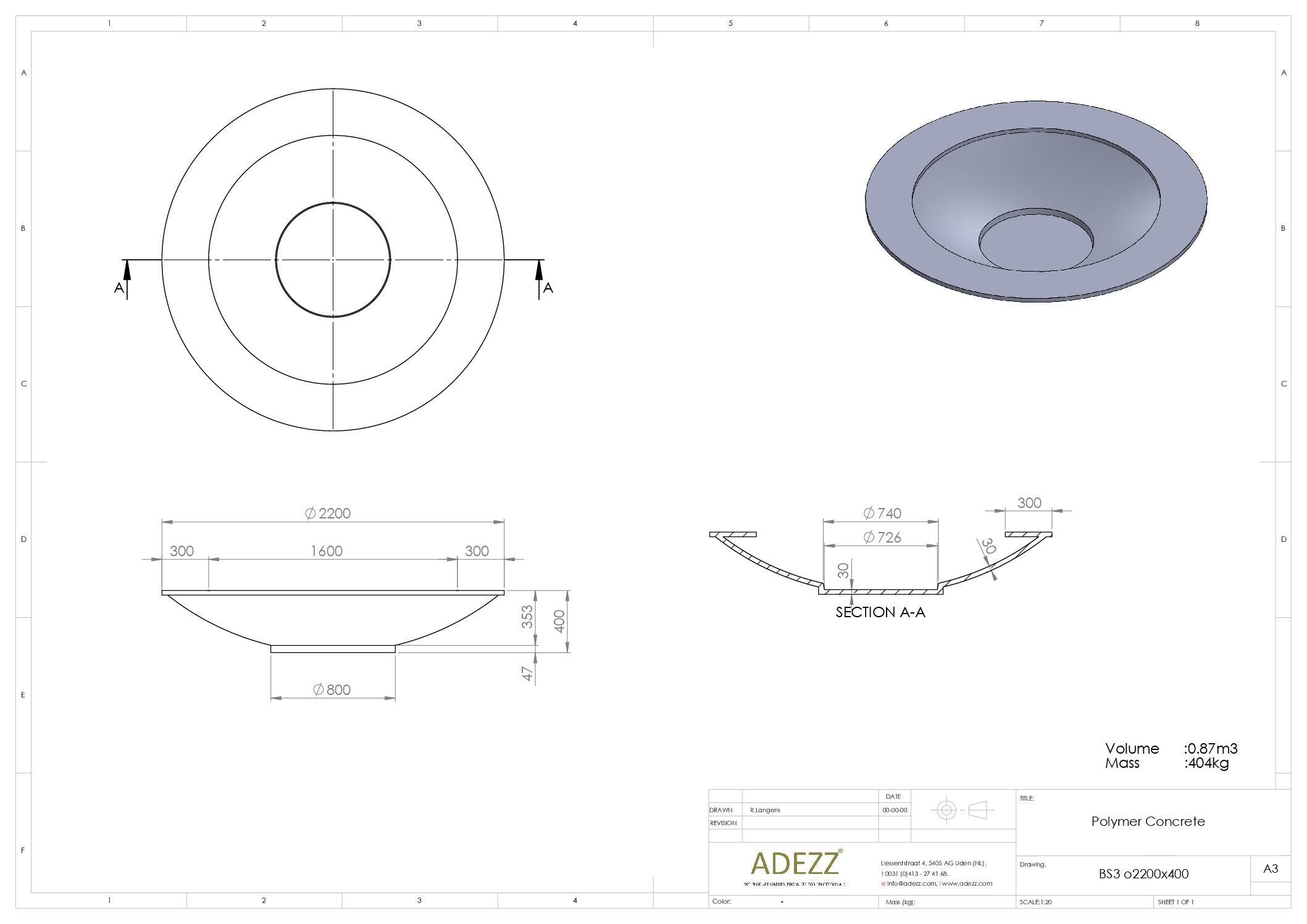 Adezz Besso Polymer Concrete Planter Seat Bowl Technical Drawing