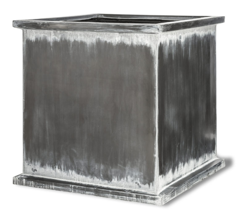 Grosvenor Cube Antigue Faux Lead Fibreglass Planter