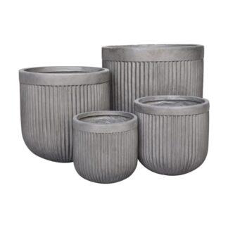 Clayfibre Ribbed Egg Pot Planter