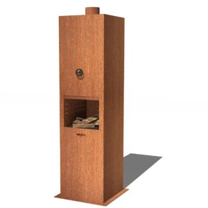 Borr Corten Steel Log Burner by Adezz 50x50x200cm (1)