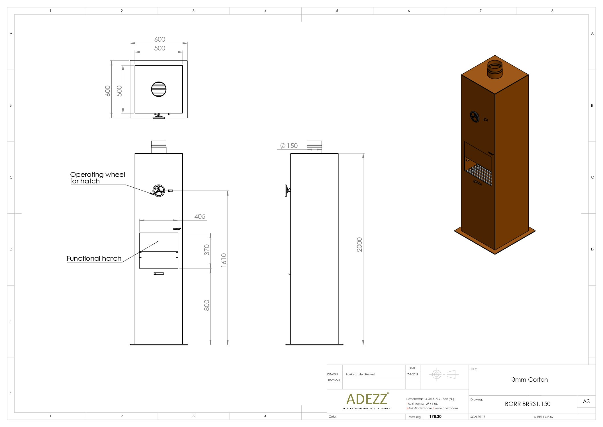 Borr Corten Steel Log Burner by Adezz 50x50x200cm Technical Drawing