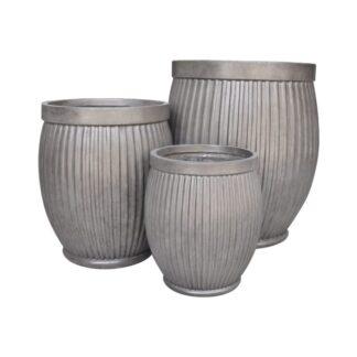 Clayfibre Ribbed Barrel Planter