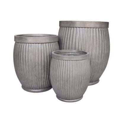Clayfibre Ribbed Barrel Planter
