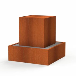 Corten Steel Water Block by Adezz 70x70x70cm