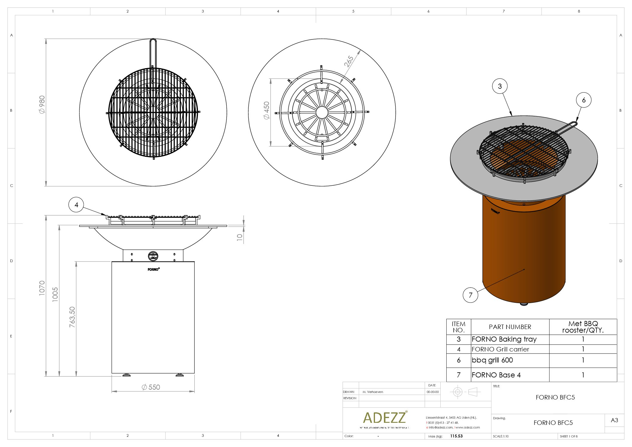 Forno Circular Grill by Adezz 100x100cm