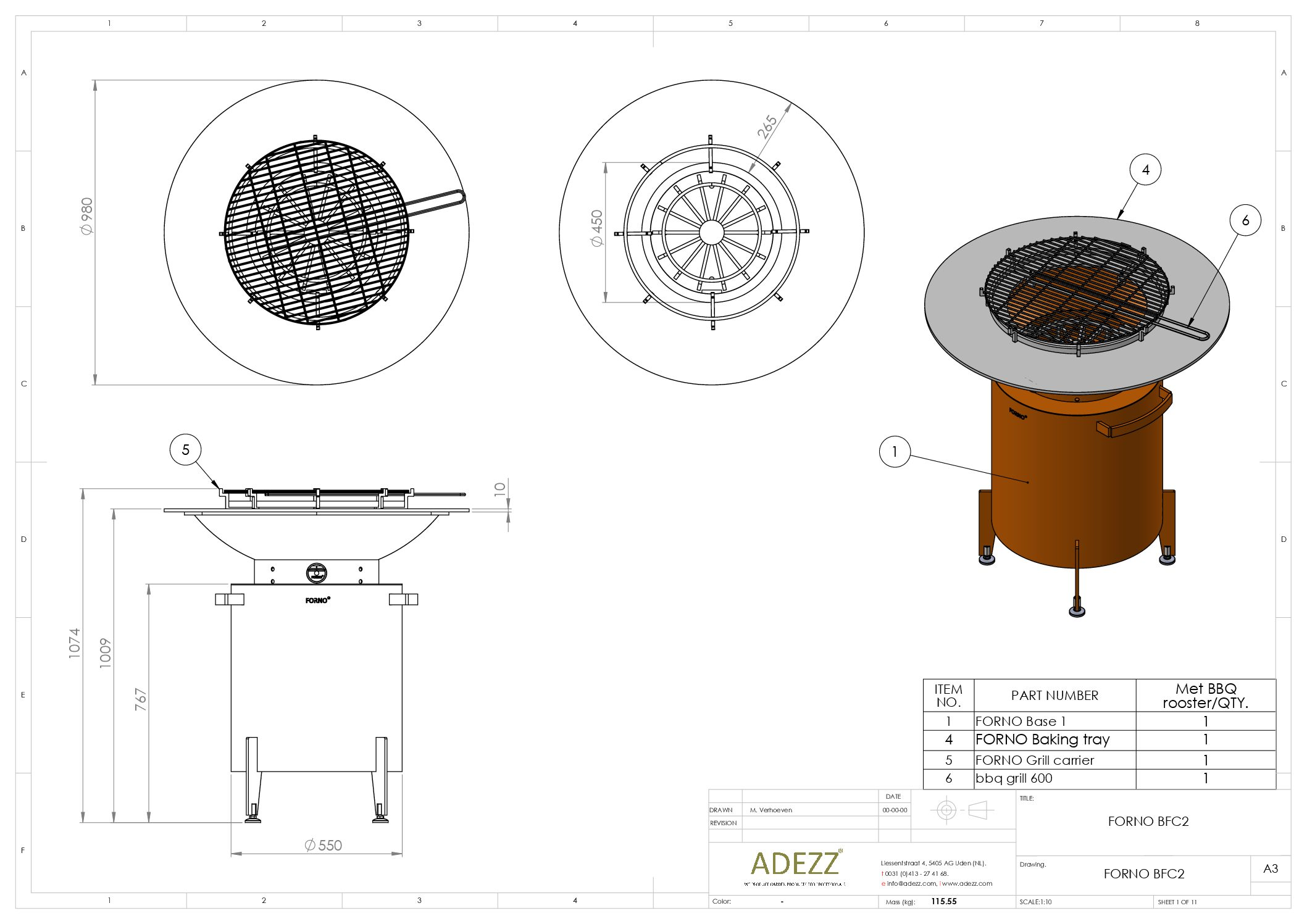 Forno Circular Grill with Feet by Adezz 100x100cm
