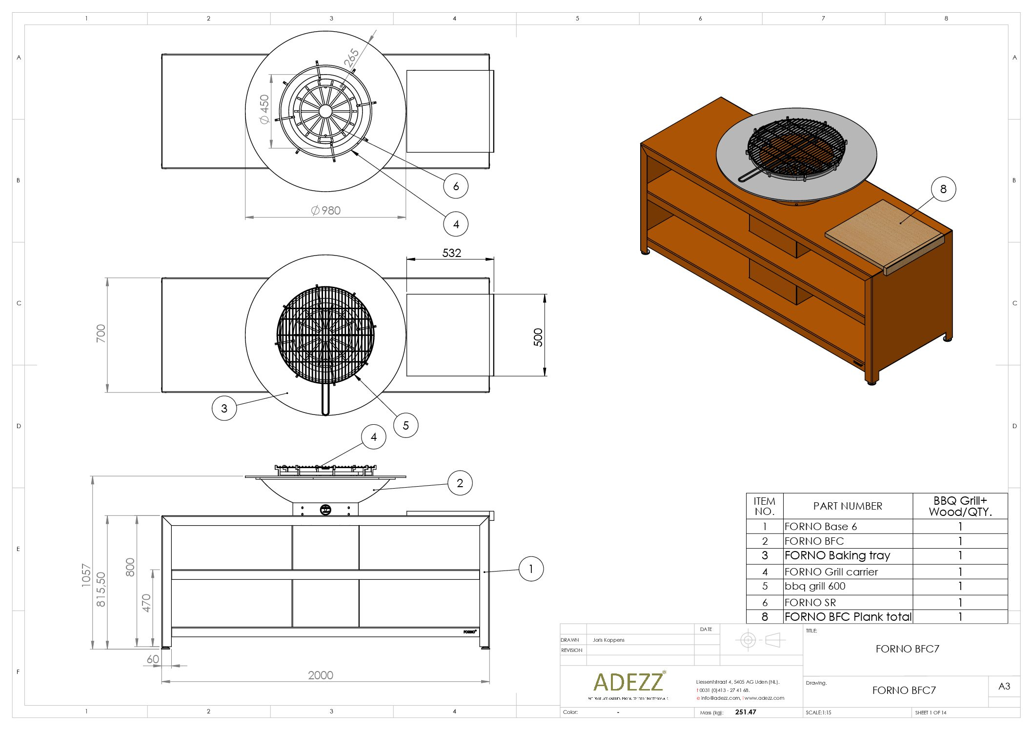 Forno Grill with Storage by Adezz 200x98x105cm Techinical Drawing