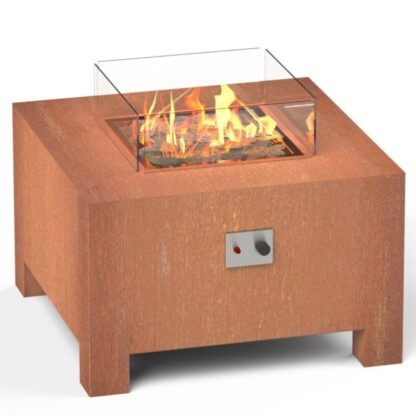BRANN CORTEN STEEL GAS FIRE PIT BY ADEZZ 80x80x50cm Alt2