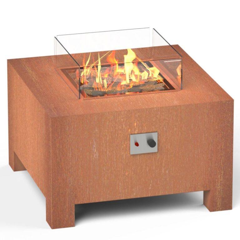 BRANN CORTEN STEEL GAS FIRE PIT BY ADEZZ 80x80x50cm Alt2