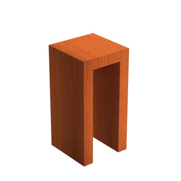 Corten Steel U Block Pedistal by Adezz