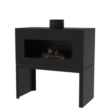 Black Heat Resistant Free Standing Enok Log Burner by Adezz 100x50x100cm