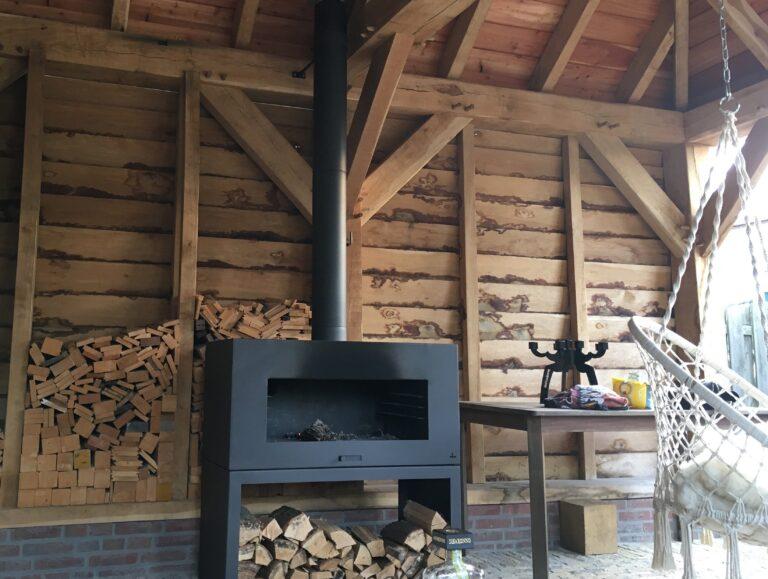 Black Heat Resistant Free Standing Enok Log Burner by Adezz 100x50x100cm Lifestyle1